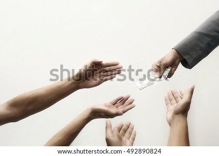 One hand offers dollar bank note four hands asked for money #492890824