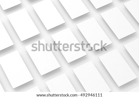 Blank white rectangles field for web site design mockup, clipping path, 3d rendering. Smartphone screen app interface mock up. Website ui template browser display. Online application presentation.