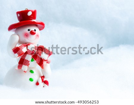 Merry Christmas! Christmas Greeting Card Template with Festive Snowman with a Red Hat, Snowman Waving Hand on White Snow Background, Christmas and New Year Greeting Cards, Christmas Gift Tag