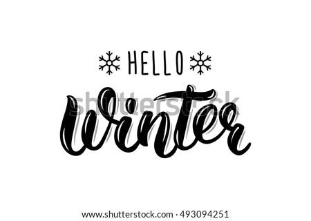 Hello Winter handlettering inscription. Winter logos and emblems for invitation, greeting card, t-shirt, prints and posters. Hand drawn winter inspiration phrase. Vector illustration Royalty-Free Stock Photo #493094251