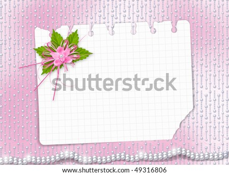 Card for invitation or congratulation with orchids and bow #49316806