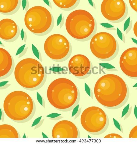 Orange fruit seamless pattern. Ripe orange. Orange with leaves. Juicy fresh orange. Tropical fruit. Healthy food element. Vector illustration on white background. #493477300