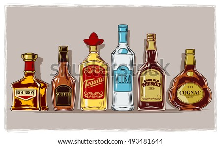 Vector set of bottles with alcohol and stemware #493481644