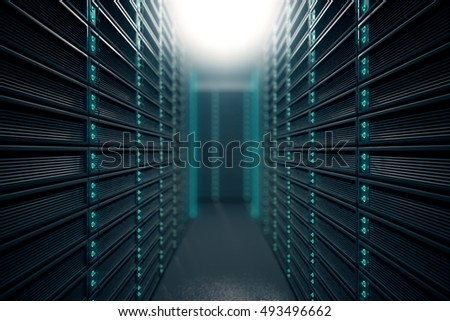 Front view of server room. Networking communication technology concept. 3D rendering #493496662