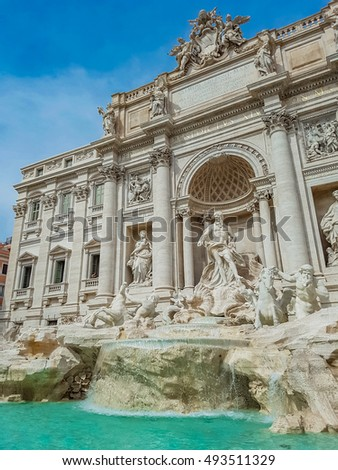 Trevi Fountain in Rome, Italy. Trevi Fountain is a fountain in the Trevi district in Rome, Italy, designed by Italian architect Nicola Salvi and completed by Pietro Bracci at 1762. #493511329