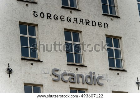 BERGEN, NOWRAY - SEP 14, 2016: Architecture of Bergen, the second-largest city in Norway and popular touristic destination. #493607122