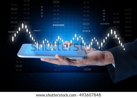 digital illustration of Man touching virtual waves #493607848