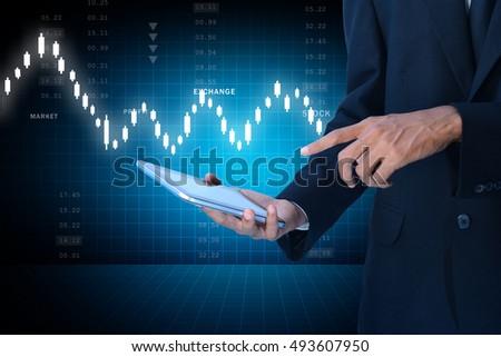 digital illustration of man touching virtual waves #493607950