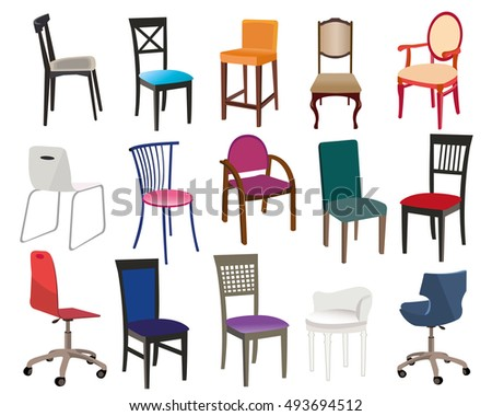 Illustration set of different modern chairs for home and office. Flat style vector illustration. #493694512