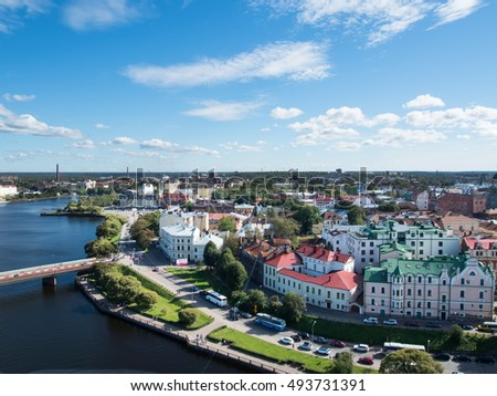 Vyborg, Russia September 3, 2016: panorama of Vyborg from the lookout tower in the Vyborg castle in Vyborg, Russia #493731391