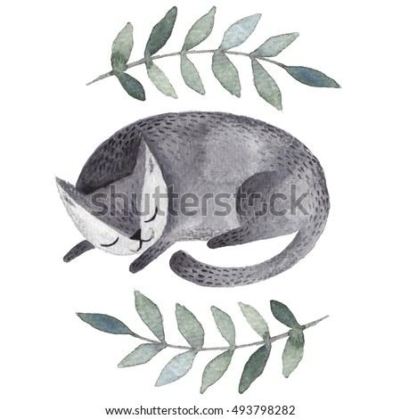 Cute gray sleeping cat. Watercolor kids illustration with domestic animal. Sleeping lovely pet. Hand drawn illustration perfect for gift cards, post cards, greeting cards, t-shirts and other designs.