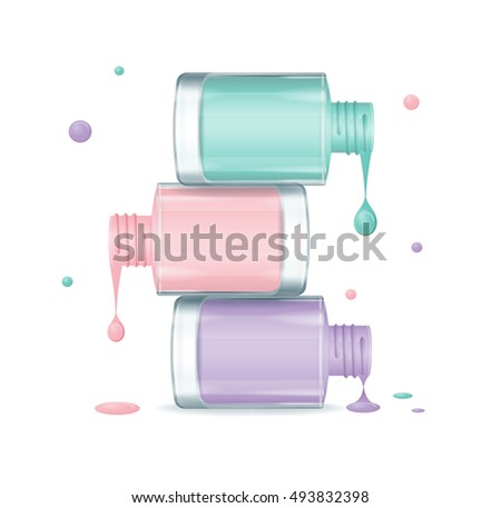 Colorful Pile of Nail Polish Set Dripping. Open Bottles. illustration of Nails Beauty Concept