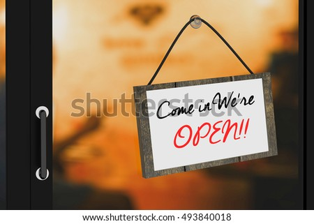 3D Rendering : illustration of Come in were open sign board hanging at the glass door against blurred warm light at cafe background,clipping path included for adding your text #493840018