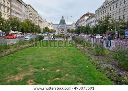 This is a view of Prague. September 4, 2016. Prague, Czech Republic. #493873591