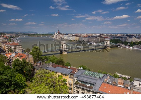 Budapest panoramic view from the Citadel with bridges and the Parliament #493877404