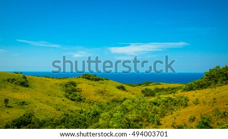 Grassy Rolling Hills in the Philippines #494003701