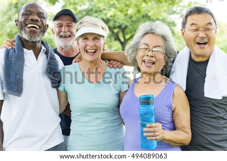 Senior Group Friends Exercise Relax Concept #494089063
