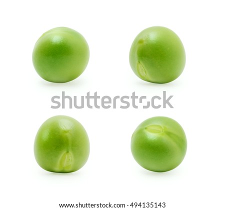Green peas set isolated on the white background #494135143