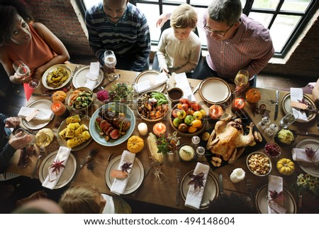Thanksgiving Celebration Tradition Family Dinner Concept #494148604