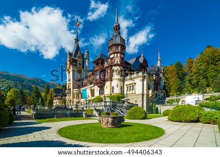 Peles castle Sinaia in autumn season, Transylvania, Romania protected by Unesco World Heritage Site Royalty-Free Stock Photo #494406343