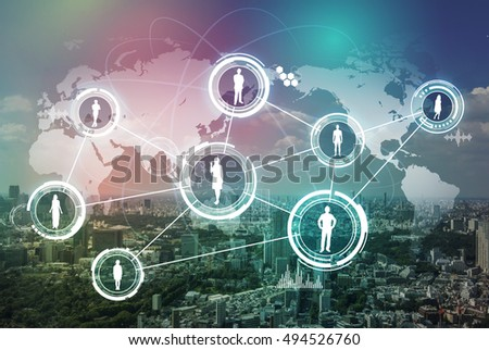 modern city and world people network, abstract image visual
