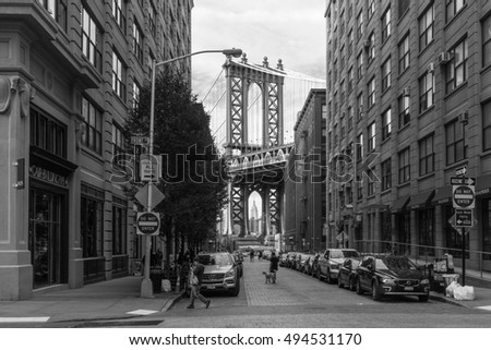 New York, USA - September 21, 2015:  View of Manhattan bridge from Brooklyn in New York. #494531170