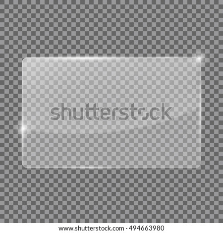 Transparent glass plate. 3d illustration isolated. Raster version #494663980