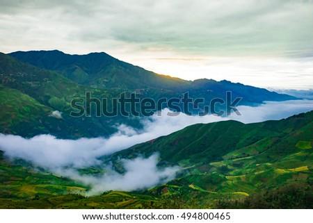 Amazing landscape in Northwest Vietnam in cloud. Terraced fields of ethnic minorities people in Vietnam. This is the cultural particularities of ethnic minorities. #494800465