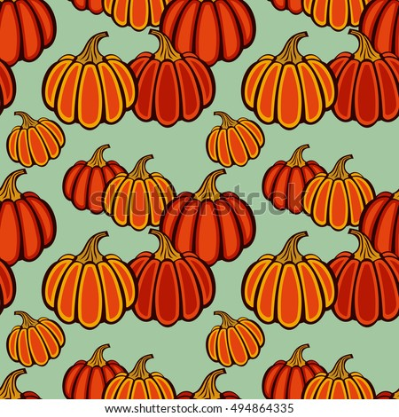 Autumn seamless pattern with pumpkins. Halloween background. Raster clip art.