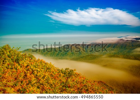 Mountain landscape clouds in Phatthalung , Southen of Thailand #494865550