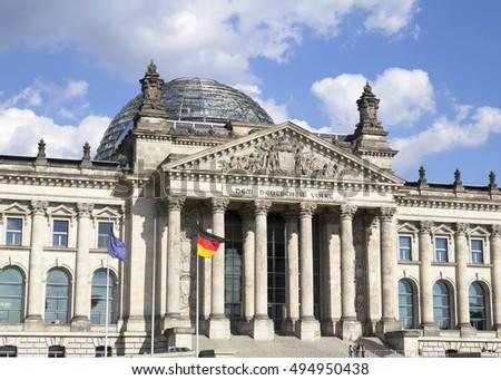 Reichstag building, seat of the German Parliament (Deutscher Bundestag), in Berlin Mitte district, Germany #494950438