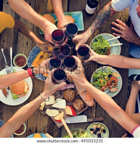 Group Of People Dining Concept #495033235