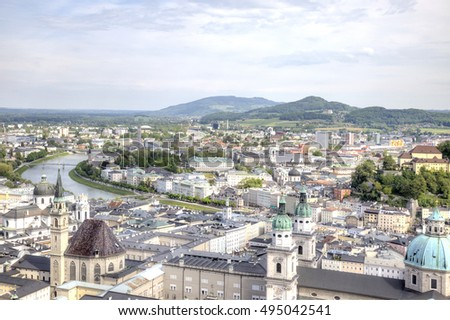 View on a city Salzburg from the castle of Hohensalzburg on mountain Festung #495042541