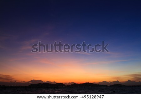 Beautiful color of sunset Royalty-Free Stock Photo #495128947