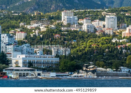 View of the embankment of Yalta from the sea, Crimea #495129859