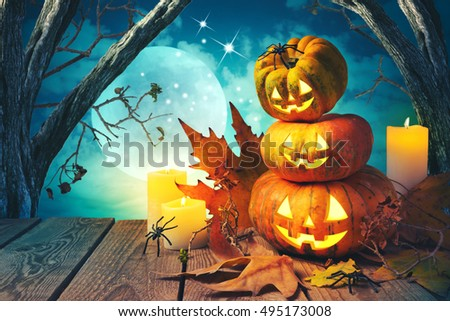 Halloween background with pumpkin jack o lantern over spooky trees #495173008
