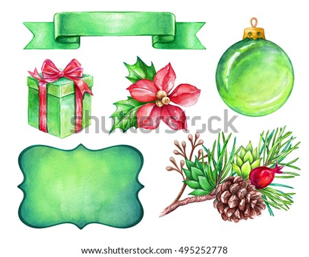 watercolor illustration, Christmas design elements isolated on white background, festive clip art, label, ribbon tag, bow, gift, flower, glass ball, ornament