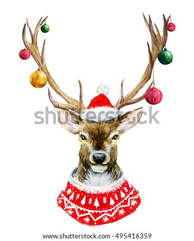 Watercolor illustration of deer, elk portrait in a sweater and hat, christmas print, happy christmas,Christmas balls on the horns