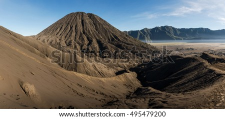Panorama view of Mount. Bromo in the morning at Bromo tengger semaru national park.  #495479200
