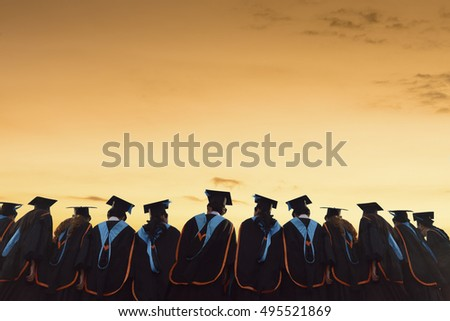Congratulated the graduates  in University,Sunset  background #495521869
