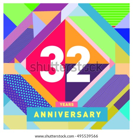 32 years greeting card anniversary with colorful number and frame. logo and icon with Memphis style cover and design template #495539566