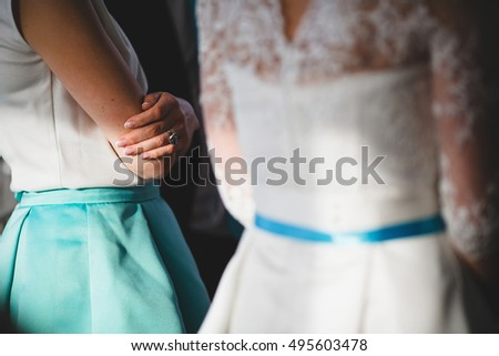 details of clothes guests and the bride #495603478