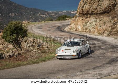 PALASCA, CORSICA - 7th OCTOBER 2016. J C Levy & A Verdenet compete in their Porsche 911 SC in the 2016 Tour de Corse Historique near Palasca in Corsica #495625342