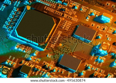 Electronic circuit board close up. #495630874