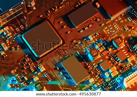 Electronic circuit board close up. #495630877