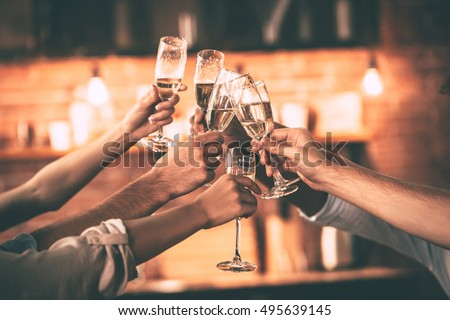 Cheers! Group of people cheering with champagne flutes with home interior in the background Royalty-Free Stock Photo #495639145