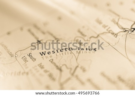 Macro view of Western Isles, United Kingdom on map. #495693766