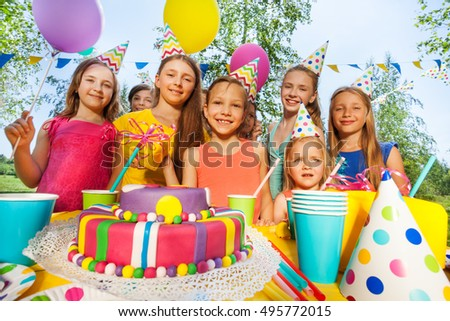 Group of adorable kids having fun at B-day party #495772015