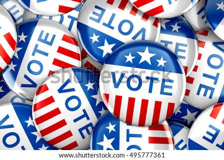 Vote buttons in red, white, and blue with stars - 3d rendering #495777361