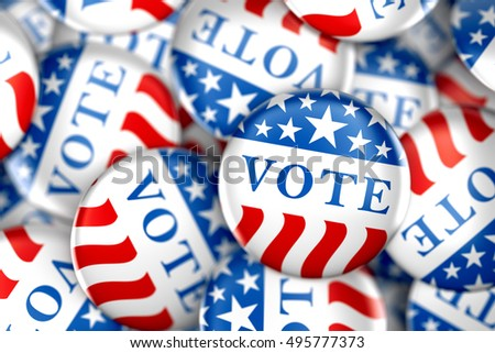 Vote buttons in red, white, and blue with stars - 3d rendering #495777373